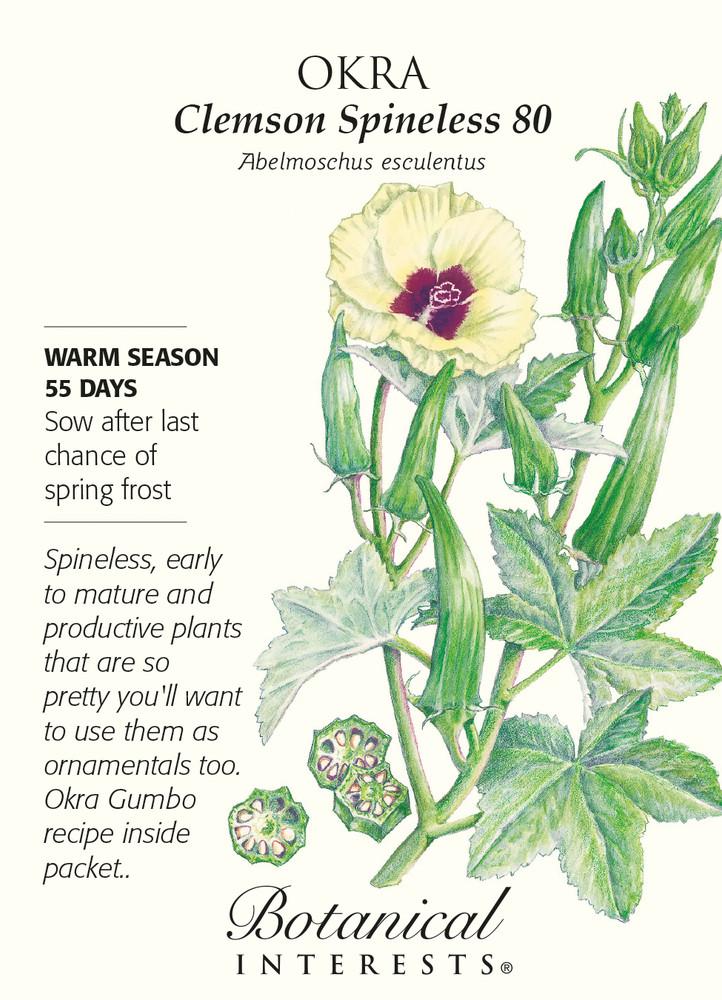 Clemson Spineless 80 Okra Seeds - 5 grams - Heirloom