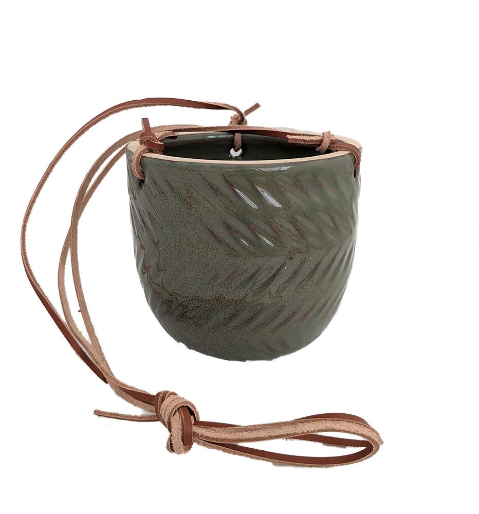 "Hanging Ceramic Egg Pot - Jade - 4.75"" x 4.5"""