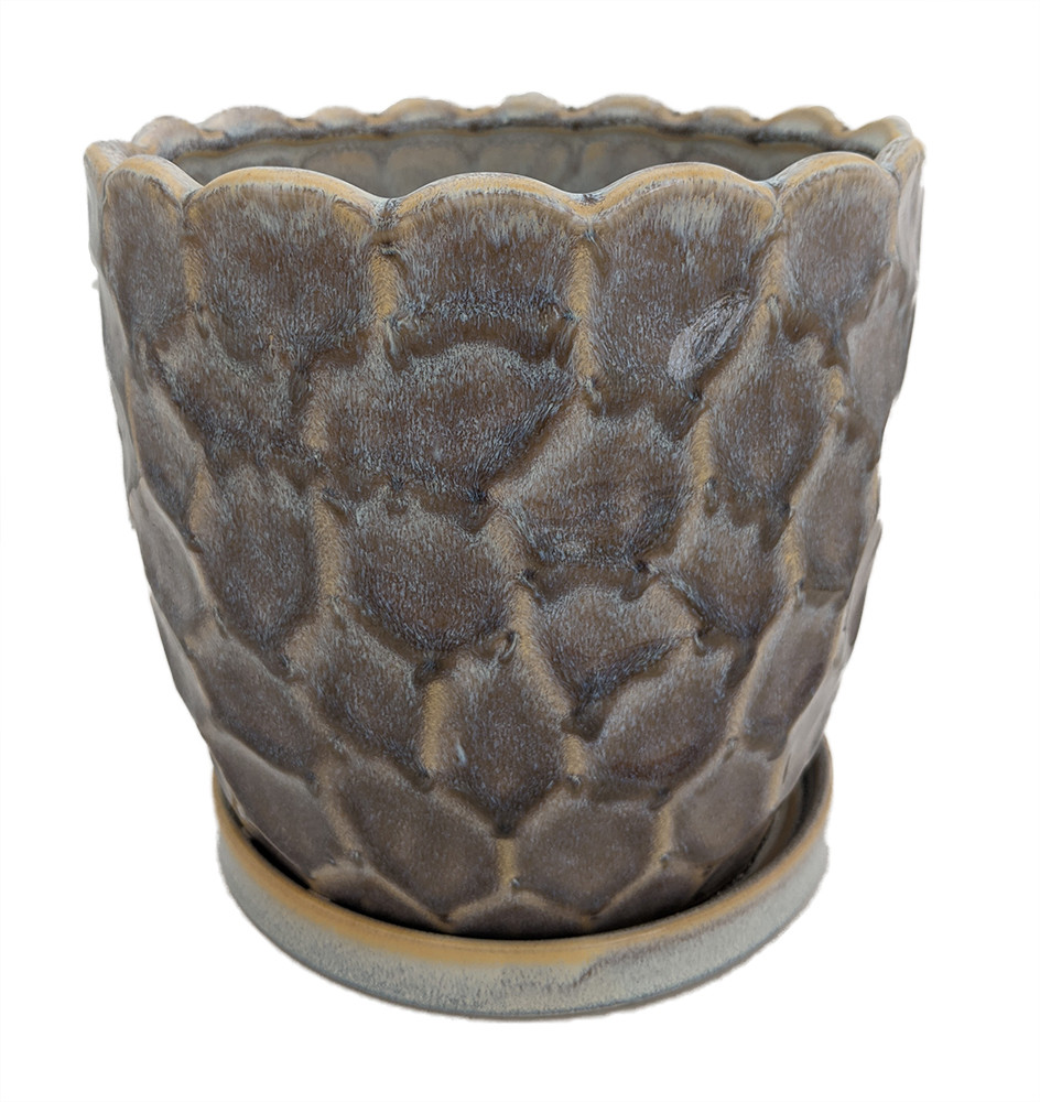 """Morrocroft Ceramic Egg Pot with Attached Saucer - 5.25"""" x 5"""" - Storm Pebbled"""