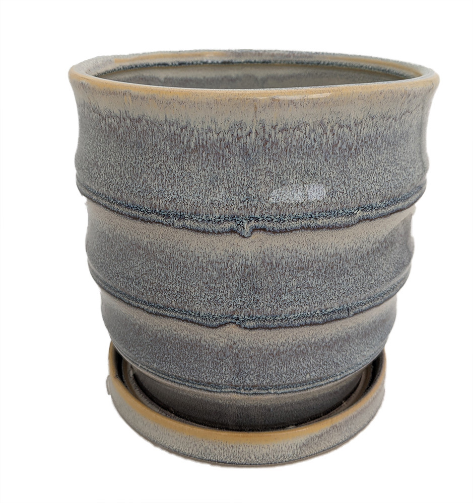 """Morrocroft Ceramic Egg Pot with Attached Saucer - 7"""" x 6.75"""" - Storm Tiered"""