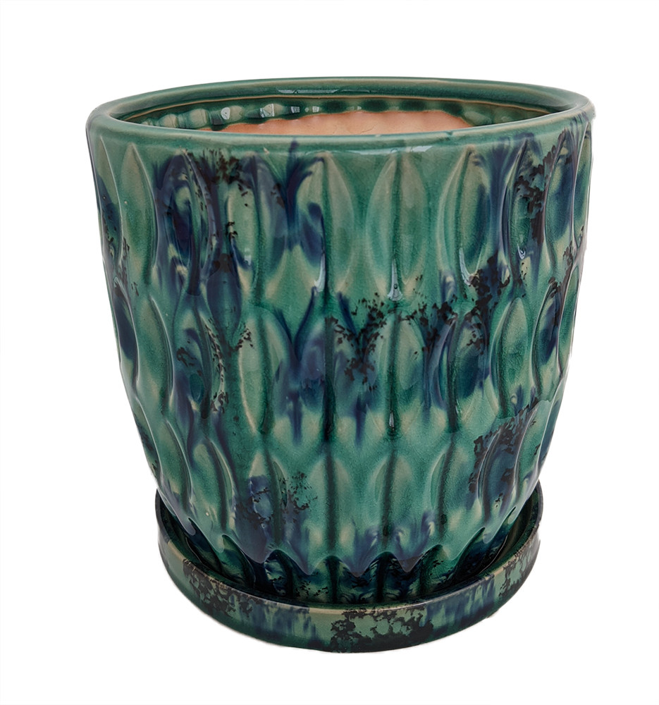 """Morrocroft Ceramic Egg Pot with Attached Saucer - 5.25"""" x 5"""" - Turquoise Leaf"""