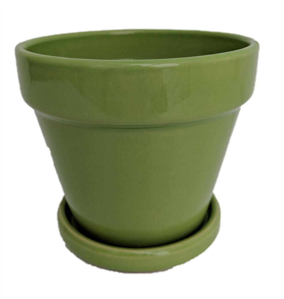 """Fiesta Ceramic Pot/Saucer - Apple Green - 4.5"""" x 4.3"""""""
