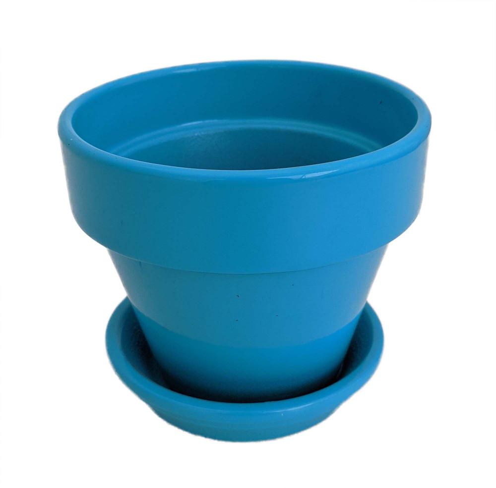 "Ceramic Pot and Saucer plus Felt Feet - Turquoise - 4"" x 3.5"""