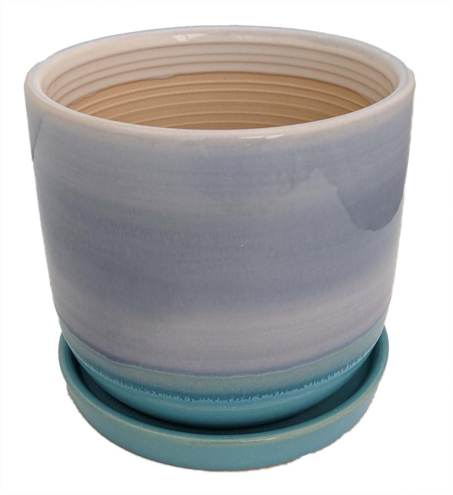 "Horizon Dusk Ceramic Pot with Attached Saucer - 5.5"" x 4.75"""