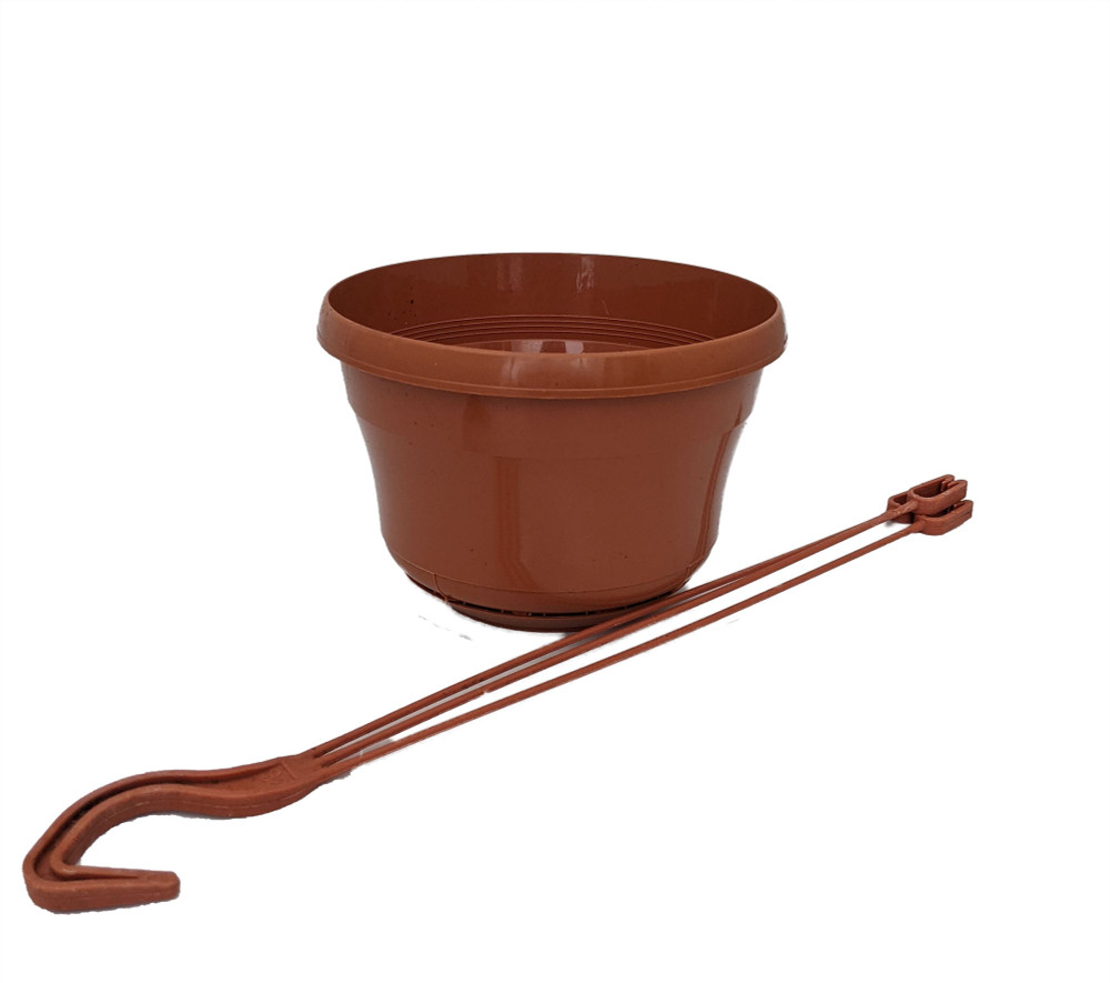"Terracotta Color 6"" Plastic Hanging Basket with Attached Saucer"