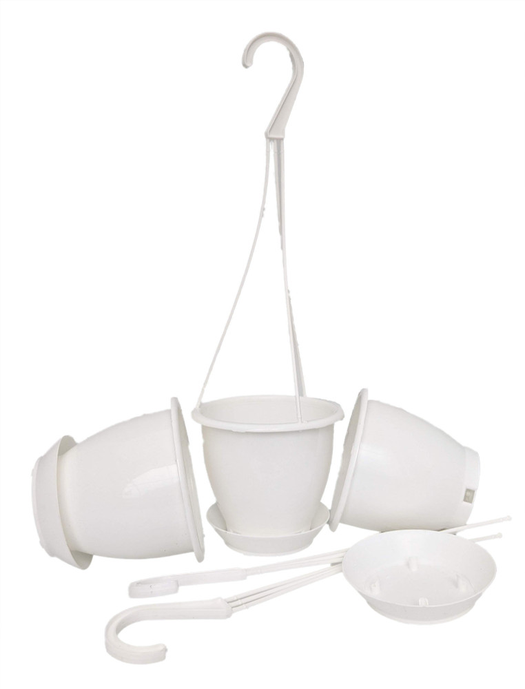 "White 4.5"" Hanging Baskets - 3 Pack - Removable Saucers"