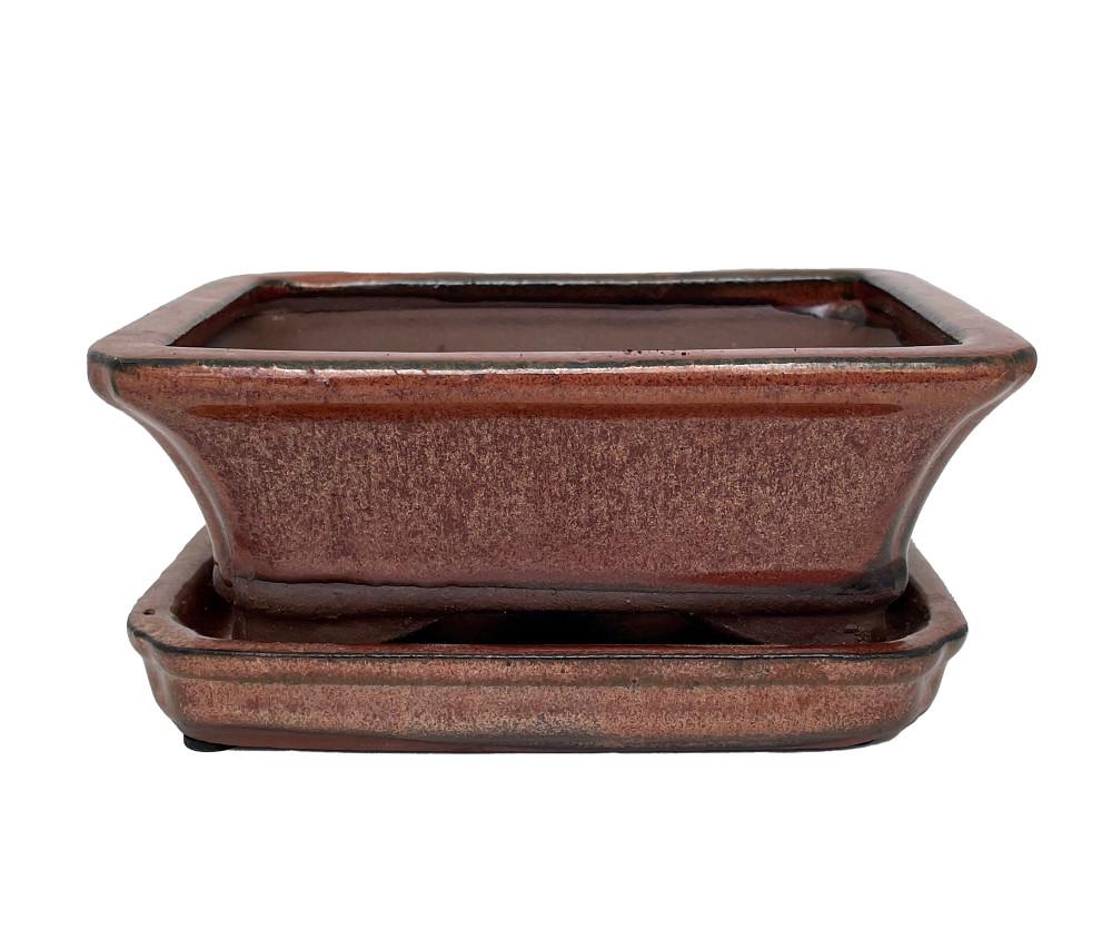 """Ceramic Bonsai Pot/Saucer - Copper Flared - 6 1/8"""" x 4 1/2"""" x 2"""""""