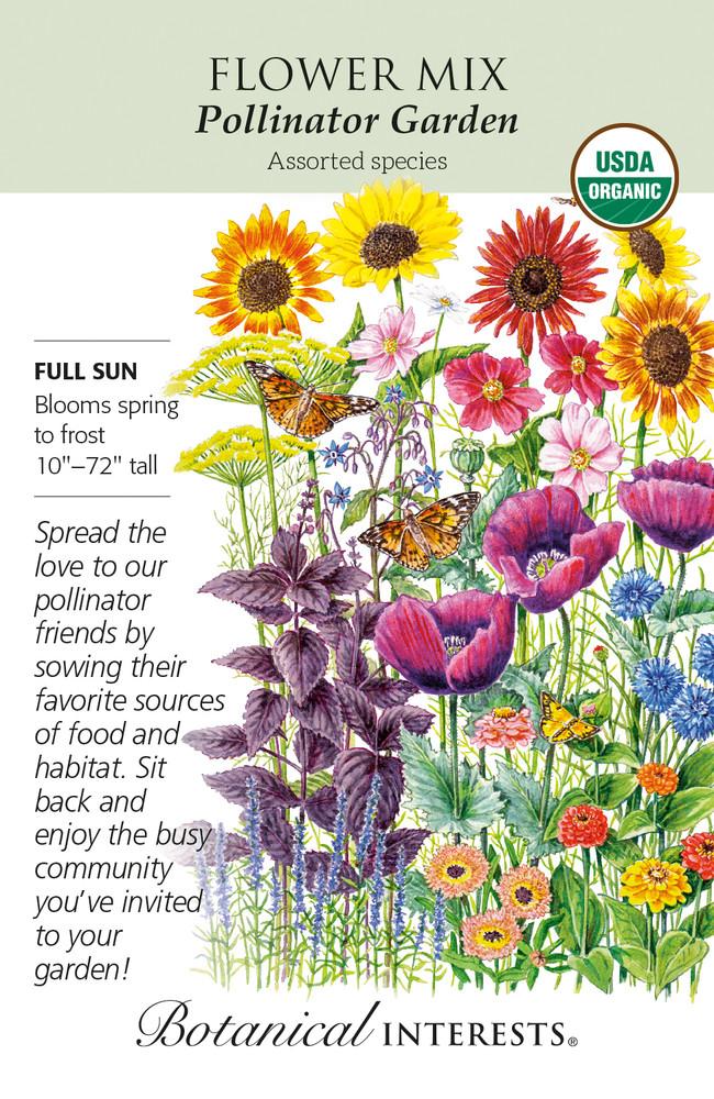 Organic Pollinator Garden Flower Mix Seeds - 2 Grams