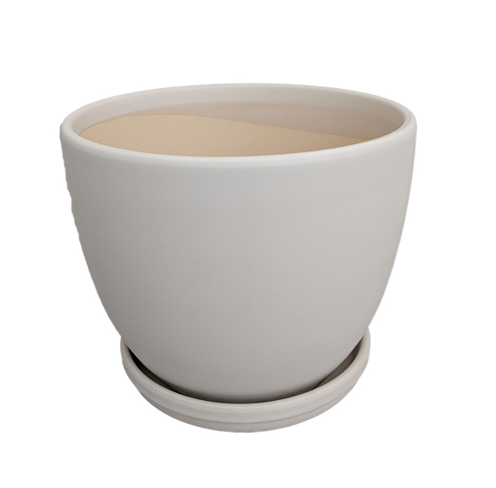 """Ceramic Egg Pot with Attached Saucer - Matte White - 7"""" x 6"""""""