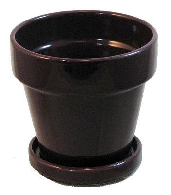 "Farm House Ceramic Pot and Saucer plus Felt Feet - Eggplant Glaze - 4.5"" x 4.3"""