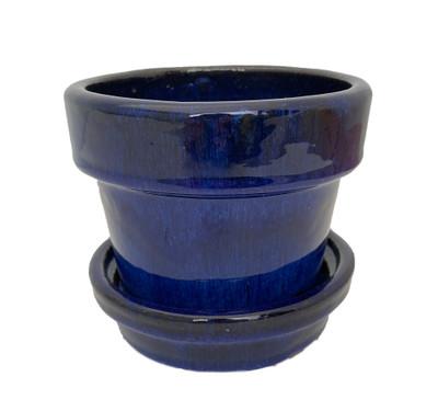 "Glazed Ceramic Pot/Saucer - Blue - 4 3/8"" x 4"" - #11933"