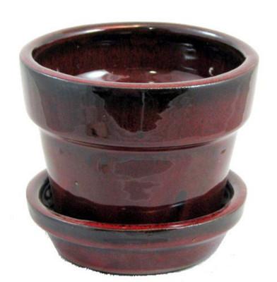 """Glazed Ceramic Pot/Saucer - Tropical Red - 4 3/8"""" x 4"""" - #11930"""