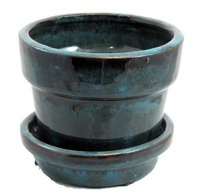 """Glazed Ceramic Pot/Saucer - Tropical Blue - 4 3/8"""" x 4"""" - #11931"""