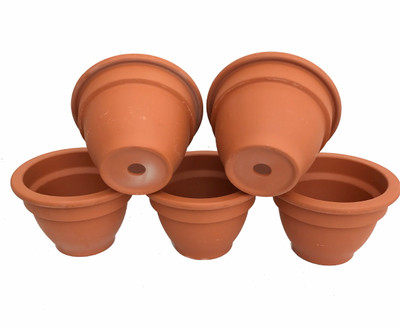 "5 - 4"" Bell Shape Clay Pots - Great for Plants and Crafts"