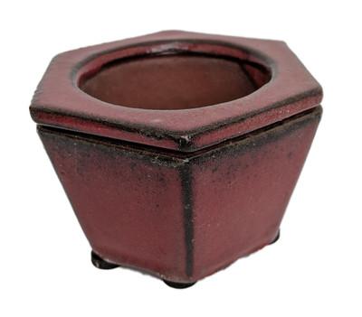 "Self Watering Glazed Ceramic Pot - Red Hexagon -3 3/4"" x 2 1/2"" #14630"