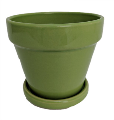 "Fiesta Ceramic Pot/Saucer - Apple Green - 7.5"" x 7"""