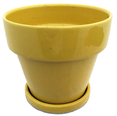 "Ceramic Pot and Saucer plus Felt Feet - Sunflower - 5.5"" x 5.5"""