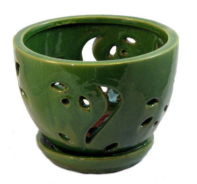 "Ceramic Orchid Pot/Saucer 5 3/4"" x 4 3/8"" - Green"