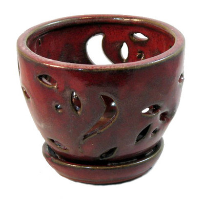 """Ceramic Orchid Pot/Saucer 5 3/4"""" x 4 3/8"""" - Tropical Red"""