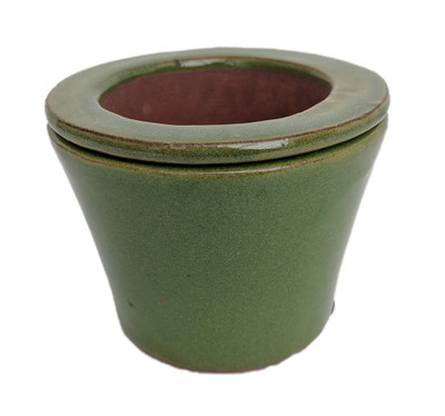 "Self Watering Glazed Ceramic Pot - Green Round - 3 3/4"" x 2 1/2"" #14630"