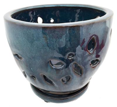 """Ceramic Round Orchid Pot/Saucer - 7"""" x 5 3/4"""" - Deep Moss Green"""