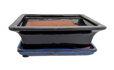 "Ceramic Bonsai Pot/Attached Saucer -NavyBlue/Black -8"" x 6.25"" x 3"" +Felt Feet"