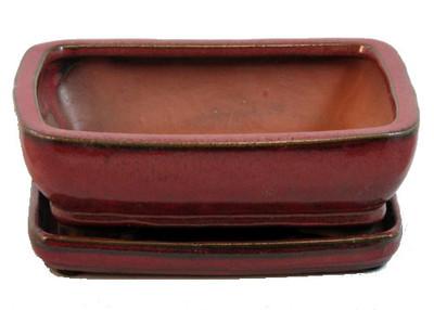 """Ceramic Bonsai Pot/Attached Saucer - Parisian Red - 8"""" x 6.25"""" x 3"""" + Felt Feet"""