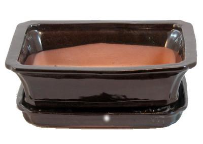 """Ceramic Bonsai Pot + Attached Saucer - Dark Brown - 8"""" x 6.25"""" x 3"""" + Felt Feet"""