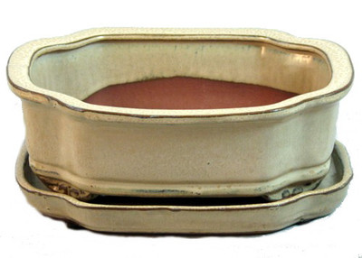 "Ceramic Bonsai Pot with Attached Saucer - Beige - 8"" x 6.25"" x 3"" plus Felt Feet"