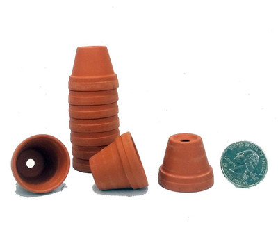 """10 - 1 1/8"""" Teensy Size Clay Pots - Great for Plants/Crafts/Fairy Gardens"""