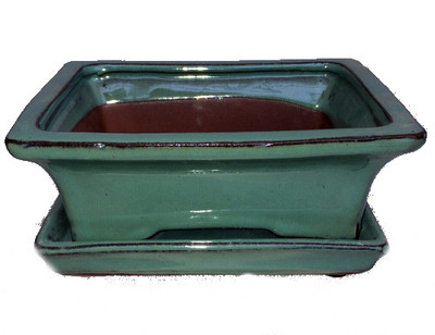 "Ceramic Bonsai Pot/Saucer -Aqua Green Flare- 6 1/8"" x 4 1/2"" x 2"" with Felt Feet"
