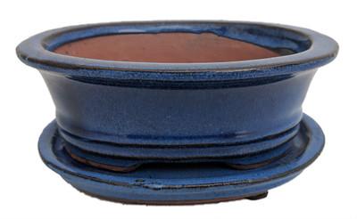 "Ceramic Bonsai Pot/Saucer - Blue Oval - 6 1/8"" x 4 1/2"" x 2"" with Felt Feet"