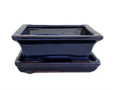 "Ceramic Bonsai Pot/Saucer -DarkBlue Rect Flare-6 1/8"" x 4 1/2"" x 2"" + Felt Feet"
