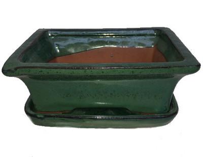 "Ceramic Bonsai Pot/Saucer - Forest Green Flared - 6 1/8"" x 4 1/2"" x 2"""