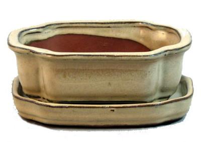 Farm House Ceramic Pot and Saucer plus Felt Feet 4.5 x 4.3 Paprika Glaze