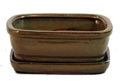 """Ceramic Bonsai Pot/Saucer - Mustard Brown - 6 1/8"""" x 4 1/2"""" x 2"""" with Felt Feet"""