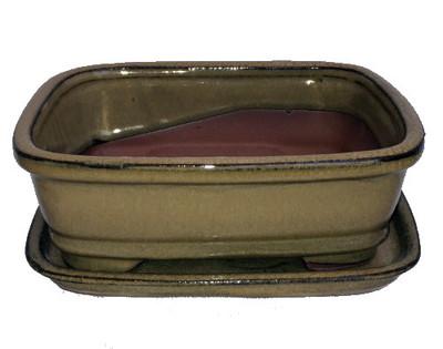 """Ceramic Bonsai Pot/Attached Saucer - Mustard - 8"""" x 6.25"""" x 3"""" + Felt Feet"""
