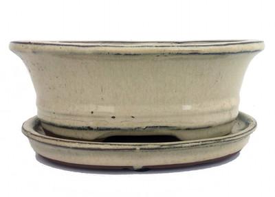 "Ceramic Bonsai Pot/Saucer - Beige/Oval - 6 1/8"" x 4 1/2"" x 2"" with Felt Feet"