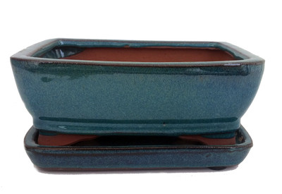 "Ceramic Bonsai Pot/Saucer - Dark Moss Green/Rounded/Square- 6 1/8"" x 4 1/2"" x 2"""