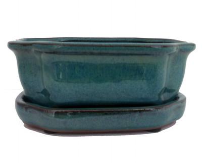 """Ceramic Bonsai Pot/Saucer - Dark Moss Green/Fancy/Oval - 6 1/8"""" x 4 1/2"""" x 2"""""""