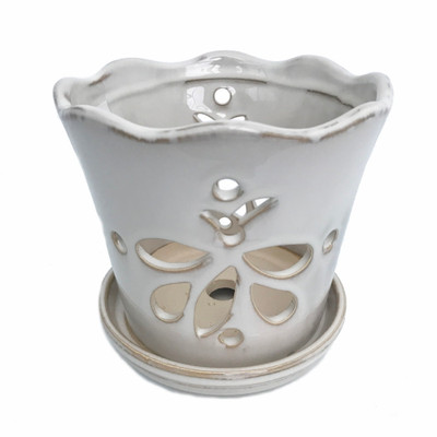 """Butterfly Ceramic Orchid Pot/Saucer 8"""" x 7 3/8"""" - White - #50250"""
