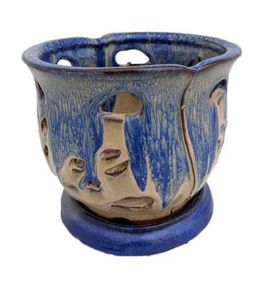 """Cauldron Orchid Pot/Saucer 6 5/8"""" x 5 3/4"""" - Blue & Beige"""
