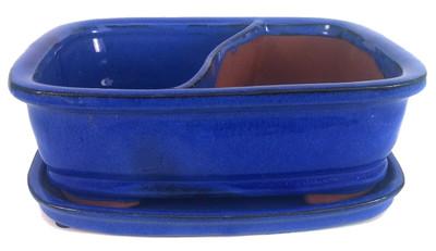 """Land and Sea Ceramic Bonsai Pot with Saucer - 8"""" x 6.5"""" x 2"""" - Cobalt Blue"""