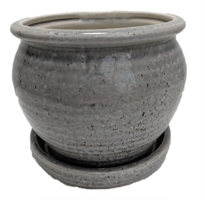 """Speckle Planter with Attached Saucer - Grey - 6"""" x 5 1/2"""""""