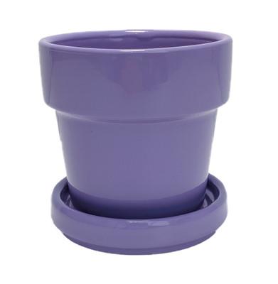 "Mini Ceramic Pot + Saucer - 2 3/4"" x 2 3/4""- Lilac Purple"