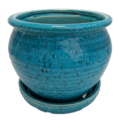 """Speckle Planter with Attached Saucer - Turquoise - 6"""" x 5 1/2"""""""