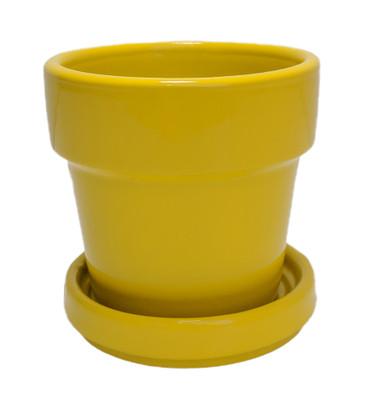 """Mini Ceramic Pot + Saucer - 2 3/4"""" x 2 3/4""""- Yellow"""