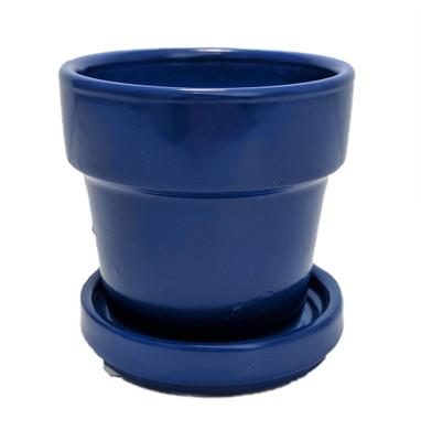 "Mini Ceramic Pot + Saucer - 2 3/4"" x 2 3/4""- Reflex Blue"