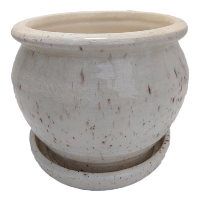 "Speckle Planter with Attached Saucer - Cream - 6"" x 5 1/2"""