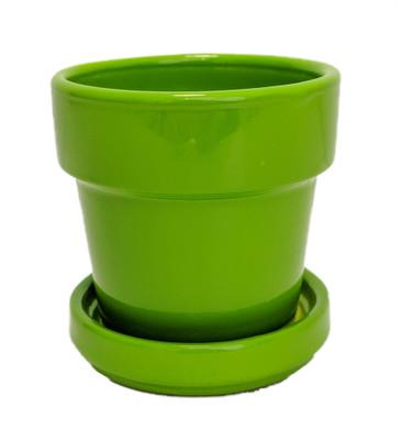 "Mini Ceramic Pot + Saucer - 2 3/4"" x 2 3/4""- Lime Green"